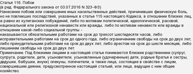 115 116 статья ук рф санкции