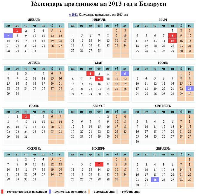 Я Вам предлагаю прямо здесь взглянуть на производственный календарь 2013 года для граждан Республики Беларусь.