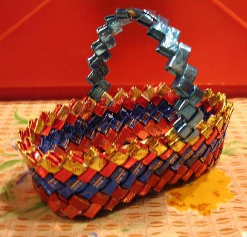 ...плетением из фантиков различных корзиночек и закладок.  Косичка из...